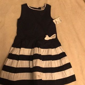 Baby girl dress Navy Blue and White